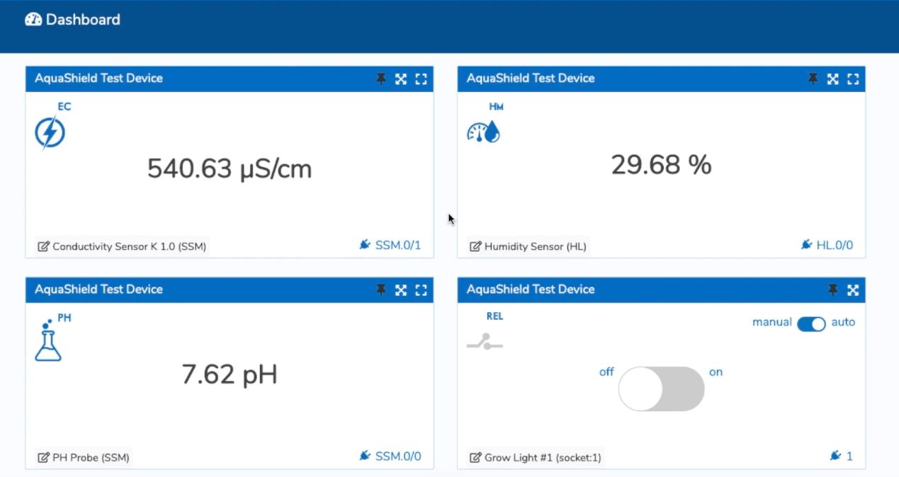 aquashield software dashboard