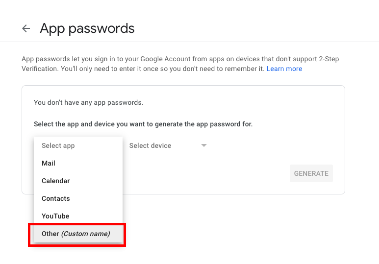 gmail app password
