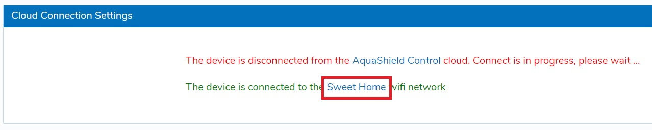 aquashield wifi settings successful